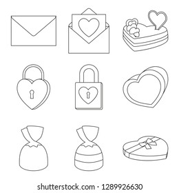 9 line art black and white valentine elements. Romantic date invitation decor. Love themed vector illustration for icon, stamp, label, certificate, brochure, gift card, poster or banner decoration