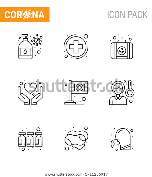 9 Line coronavirus epidemic icon pack suck as  medical; assistance; emergency; health care; hands viral coronavirus 2019-nov disease Vector Design Elements