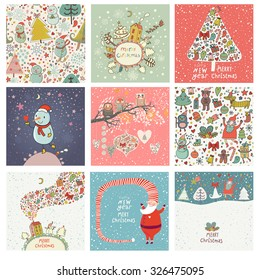 9 lovely Christmas and New Year cards in vector. Sweet holiday backgrounds with fir tree, Snowman, Santa, gifts, snow, owls and other symbols. Great winter holidays collection in cartoon style