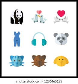 9 lovely icon. Vector illustration lovely set. earmuffs and pyjamas icons for lovely works
