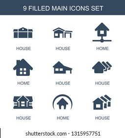 9 main icons. Trendy main icons white background. Included filled icons such as house, home. main icon for web and mobile.