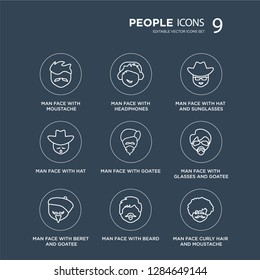 9 Man face with moustache, headphones, beret and goatee, glasses goatee modern icons on black background, vector illustration, eps10, trendy icon set.