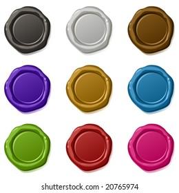 9 many-coloured vector sealing waxes