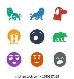 9 mascot icons. Trendy mascot icons white background. Included filled icons such as yawn emot, rolling eyes emot, bear, crying emoji, wolf, lion. mascot icon for web and mobile.