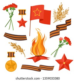 9 May military things vector set for Russian holiday of Victory Day. Collection things with George ribbon, Eternal flame, flower medal, reward, star, soviet flag. 9 May Holiday symbols, Victory day