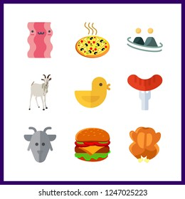9 meat icon. Vector illustration meat set. fried chicken and hot dog icons for meat works
