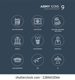 9 Militar Radar, In, Kalashnikov, Knuckle, lieutenant, antique building, Medal, Jet modern icons on black background, vector illustration, eps10, trendy icon set.