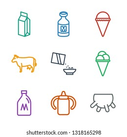 9 milk icons. Trendy milk icons white background. Included outline icons such as udder, baby bottle, milk can, ice cream, cereal, cow. icon for web and mobile.