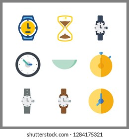 9 minute icon. Vector illustration minute set. wristwatch and stopwatch icons for minute works