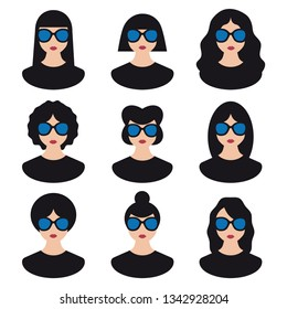 9 modern women with black hair and sunglasses vector icons illustration