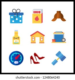 9 nobody icon. Vector illustration nobody set. hammer and shoe icons for nobody works
