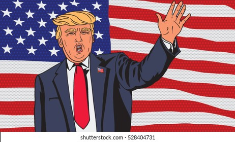 9 November 2016. Vector illustration. US President-elect Donald Trump makes a welcoming speech to supporters in New York.
