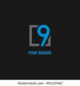 9 Number logo design vector