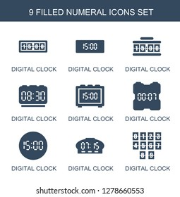 9 numeral icons. Trendy numeral icons white background. Included filled icons such as digital clock. numeral icon for web and mobile.