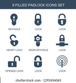 9 padlock icons. Trendy padlock icons white background. Included filled icons such as keyhole, lock, heart lock, gear keyhole, opened lock. padlock icon for web and mobile.
