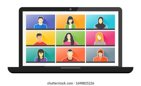 9 Panels Young Man & Woman Online Virtual Remote Meetings, Video Web Conference Teleconference. Millennial Teenager College University School Student Team Stay Study Learn From Home WFH Live Stream
