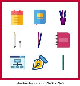 9 pencil icon. Vector illustration pencil set. ruller and pencils icons for pencil works