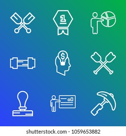 9 premium vector icon set on gradient background