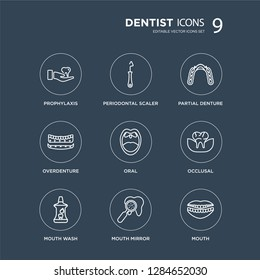 9 Prophylaxis, Periodontal scaler, Mouth Wash, Occlusal, Oral, Partial Denture, Overdenture, Mirror modern icons on black background, vector illustration, eps10, trendy icon set.