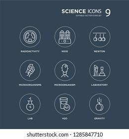 9 Radioactivity, Nixie, Lab, Laboratory, Microorganism, Newton, Microorganisms, H2o modern icons on black background, vector illustration, eps10, trendy icon set.