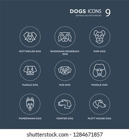 9 Rottweiler dog, Rhodesian Ridgeback Pomeranian Poodle Pug Pumi Puggle Pointer dog modern icons on black background, vector illustration, eps10, trendy icon set.