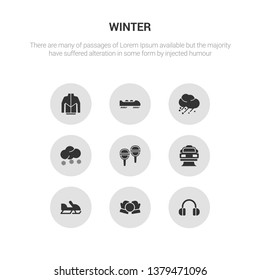 9 round vector icons such as earmuffs, snow ball, snowmobile, snowplow, snowshoes contains snowy, hail, bobsled, winter clothes. earmuffs, snow ball, icon3_, gray winter icons