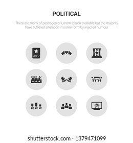 9 round vector icons such as political publicity on monitor screen, politicians, poll, protest, slavery contains supporter, uncle sam hat, unity, vote. political publicity on monitor screen,