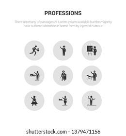 9 round vector icons such as singer, stewardess, superhero, surgeon, swat contains taxi driver, teacher, telemarketer, thief. singer, stewardess, icon3_, gray professions icons