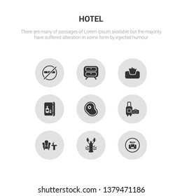 9 round vector icons such as left-luggage, lobster, lounge, luggage, meat contains minibar, napkins, nightstand, no pets. left-luggage, lobster, icon3_, gray hotel icons