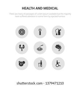 9 round vector icons such as tonometer, transfusion, urine, urology, vaccine contains veterinary, vitamin, walking stick, wheelchair. tonometer, transfusion, icon3_, gray health and medical icons