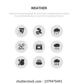 9 round vector icons such as precipitation, rainbow, raindrops, rainfall, rainy day contains sand storms, sleet, smog, snow storms. precipitation, rainbow, icon3_, gray weather icons