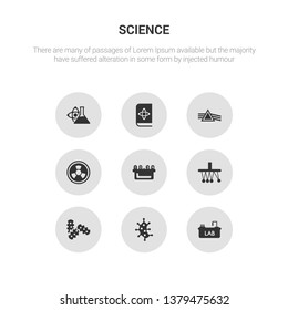 9 round vector icons such as lab, microorganism, microorganisms, newton, nixie contains radioactivity, refraction, science book, scientific. lab, microorganism, icon3_, gray science icons
