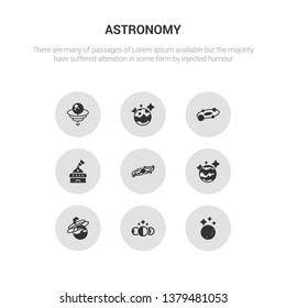 9 round vector icons such as moon, moon phases, nebula, neptune, orbit contains planetarium, planets, pluto, quasar. moon, phases, icon3_, gray astronomy icons