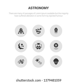 9 round vector icons such as extraterrestrial, falling star, galaxy, gamma ray, generator contains half moon, jet pack, jupiter, lander. extraterrestrial, falling star, icon3_, gray astronomy icons