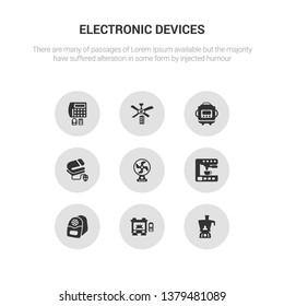 9 round vector icons such as food processor, furnace, electric pencil sharpener, espresso maker, electric fan contains electric blanket, crock-pot, ceiling fan, burglar alarm. food processor,