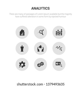 9 round vector icons such as search analytics, service, setting flow interface, sine waves analysis, solution contains speech, statistics, stock data analysis, stock market. search analytics,