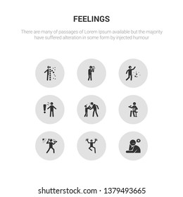 9 round vector icons such as helpless human, hopeful human, hopeless human, horrible hot contains hungry hurt impatient in love helpless hopeful icon3_, gray feelings icons
