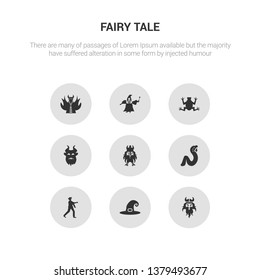 9 round vector icons such as viking, witch hat, zombie, rapunzel, dwarf contains beast, toad, fairy godmother, myth. viking, witch hat, icon3_, gray fairy tale icons