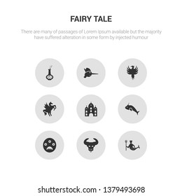 9 round vector icons such as merman, minotaur, monster, narwhal, palace contains pegasus, phoenix, pinocchio, potion. merman, minotaur, icon3_, gray fairy tale icons