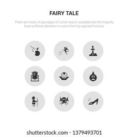 9 round vector icons such as cinderella shoe, cthulhu, curupira, cyclops, dracula contains enchanted mirror, excalibur, fairy, fairy tale. cinderella shoe, cthulhu, icon3_, gray fairy tale icons