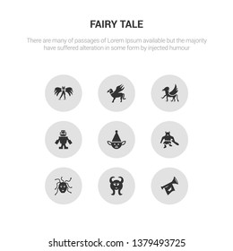 9 round vector icons such as fanfare, faun, female medusa, giant, goblin contains golem, griffin, gryphon, harpy. fanfare, faun, icon3_, gray fairy tale icons