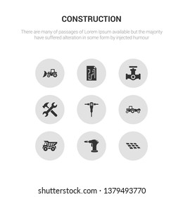 9 round vector icons such as tiles, blowtorch, dumper, scraper, jackhammer contains spanner, gas pipe, construction plan, loader. tiles, blowtorch, icon3_, gray construction icons