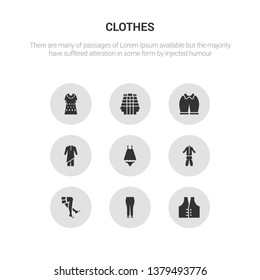 9 round vector icons such as vest, briefs, stockings, tracksuit, nightwear contains kurta, knickers, kilt, kaftan. vest, briefs, icon3_, gray clothes icons