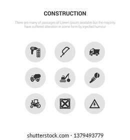 9 round vector icons such as high voltage, joist, steamroller, circular saw, demolition contains concrete, tipper, hacksaw, nail gun. high voltage, joist, icon3_, gray construction icons