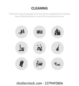 9 round vector icons such as carpet cleaning, bathtub cleaning, bin, broom, bubbles contains cleaning, detergent, dishes, garbage. carpet bathtub icon3_, gray icons