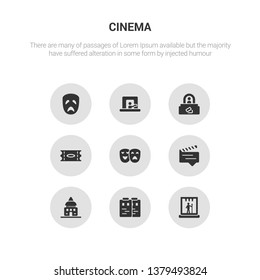 9 round vector icons such as stage, storyboard, studio, subtitle, theatre contains ticket, ticket office, ticket window, tragedy. stage, storyboard, icon3_, gray cinema icons