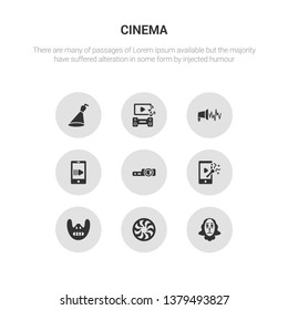 9 round vector icons such as shakespeare, shutter, silence, slapstick, slide projector contains slow motion, sound effect, soundtrack, spotlight. shakespeare, shutter, icon3_, gray cinema icons