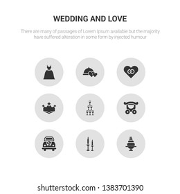 9 round vector icons such as wedding cake, wedding candle, wedding car, carriage, champagne contains crown, day, dinner, dress. cake, candle.