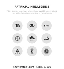 9 round vector icons such as artificial intelligence, wireless charging, augmented reality, autonomous car, big data contains biometrics, bionic arm, bionic contact lens, bionic eye. artificial