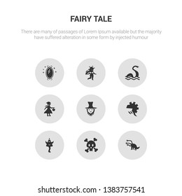 9 round vector icons such as hydra, jolly roger, knight, leprechaun contains little riding hood, loch ness monster, madre monte, magic mirror. hydra, jolly roger.